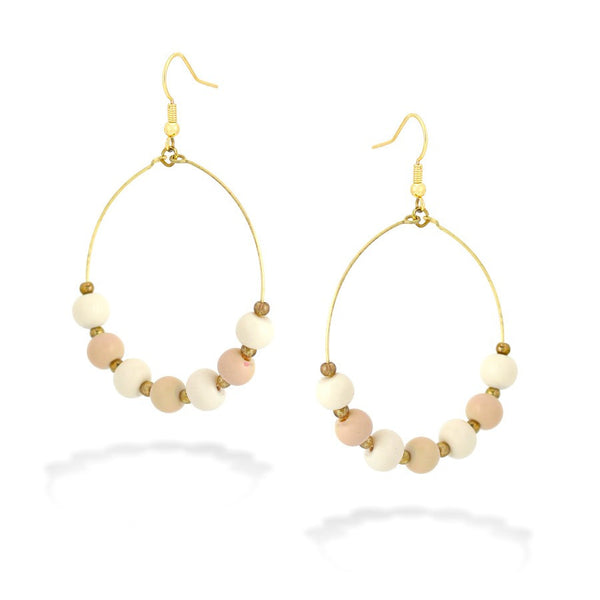 Cream & Peach Bead Earrings Gift For Her