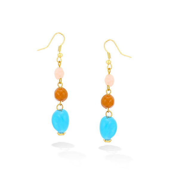 Gold Multi Blue & Orange Stone Earrings Gift For Her