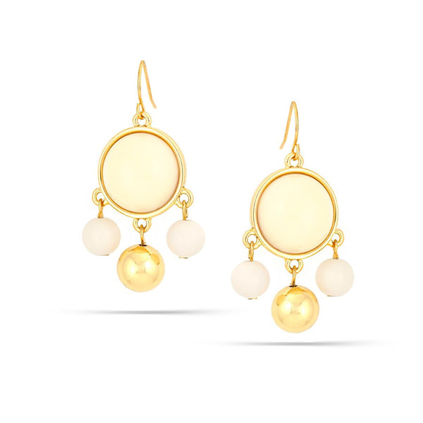 Gold Cream Earrings Gift For Her