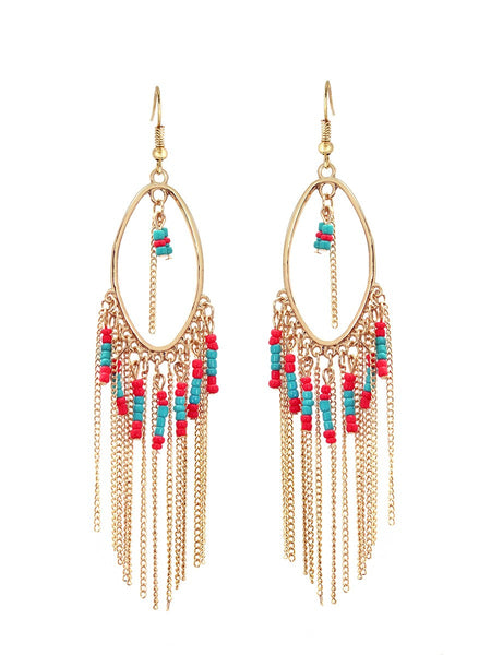 Gold Turquoise & Coral Beaded Indian Chandelier Earrings Gift For Her