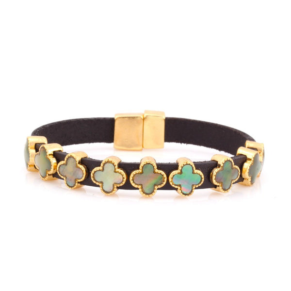 Gold-Tone Metal Turquoise Mop Leather Bracelets Gift For Her