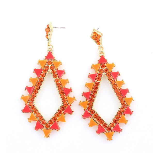 Gold Red Crystal Earrings Gift For Her