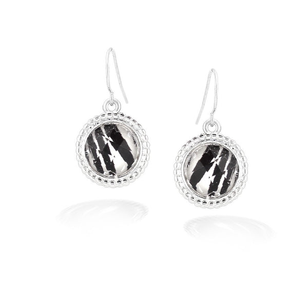 Silver Zebra Print Round Earrings Gift For Her