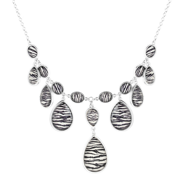 Fashion Silver-Tone Zebra Print Acrylic Tear Drop Necklace Women's Girl'S Gift For Her