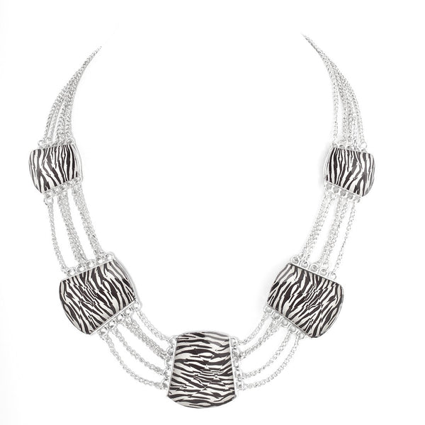 Silver Zebra Print Necklaces Gift For Her