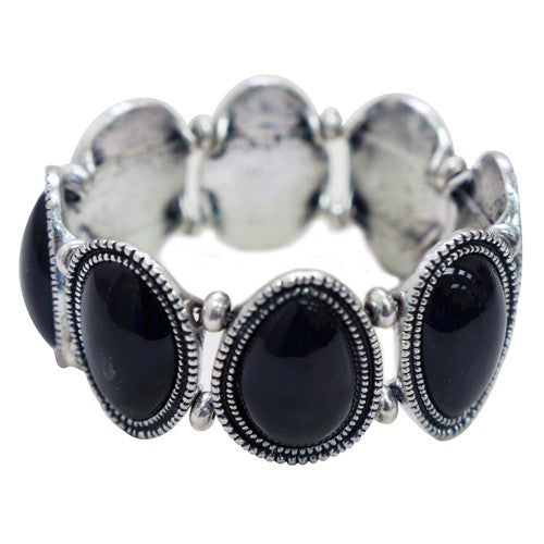 Women's Fashion Black Oval Stretch Bracelet Gift For Her