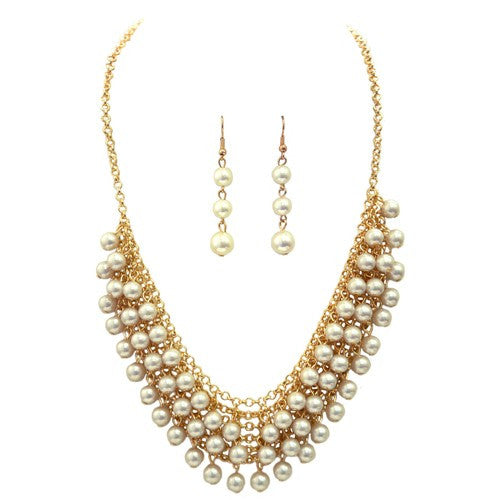 Women's Fashion Gold W/ Pearl Necklace & Earring Set Gift For Her