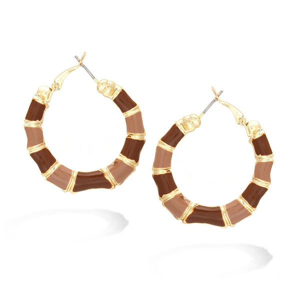 Women's Fashion Gold & Brown Hoop Earrings Gift For Her