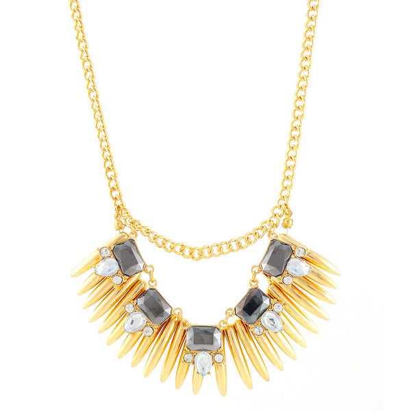 Fashion Gold-Tone Hematite & Crystal Necklace Women's Girl'S Gift For Her