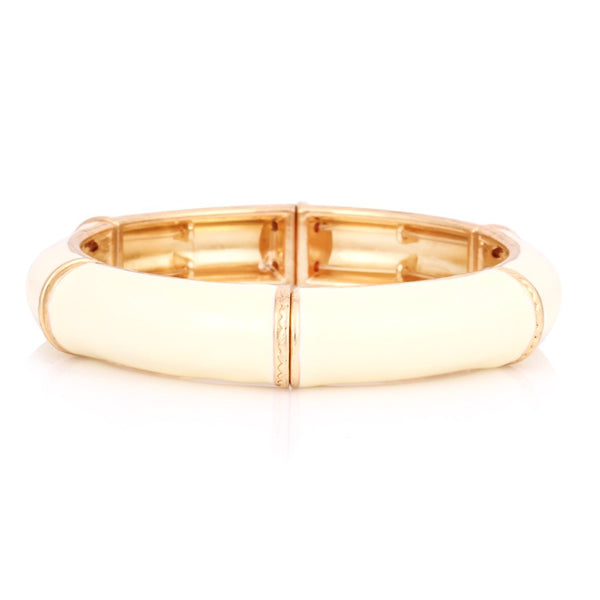 Gold Plated Cream Stretch Bracelet Gift For Her
