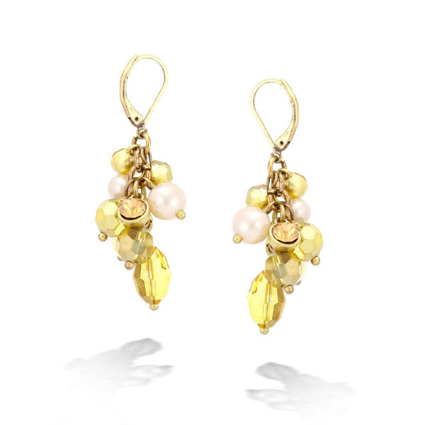 Gold-Tone Metal Pearl & Crystal Earrings Gift For Her