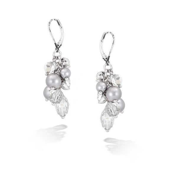 Silver Gray Crystal W/ Pearl Earrings Gift For Her