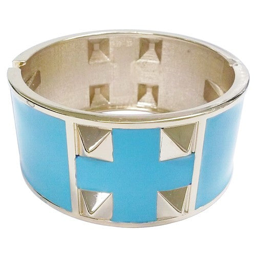 Women's Fashion Turquoise Hinged Bracelet W/ 8 Gold Spikes Gift For Her