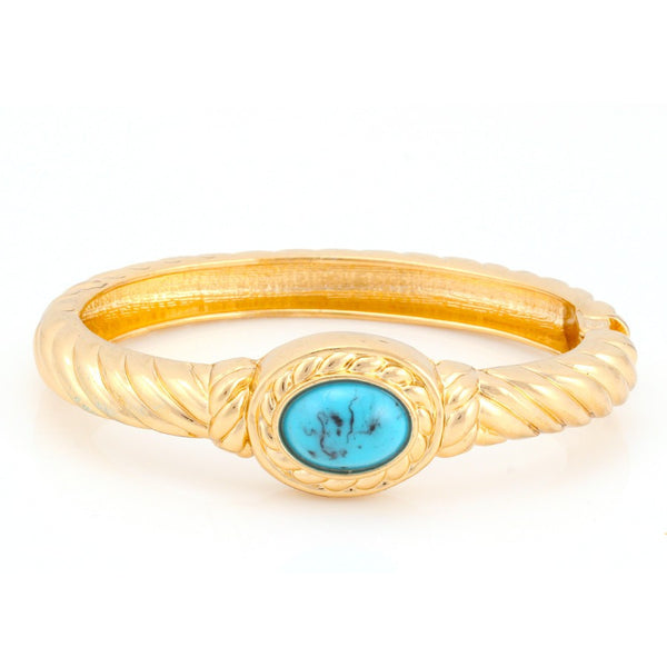 Gold Turquoise Hinged Bracelets Gift For Her