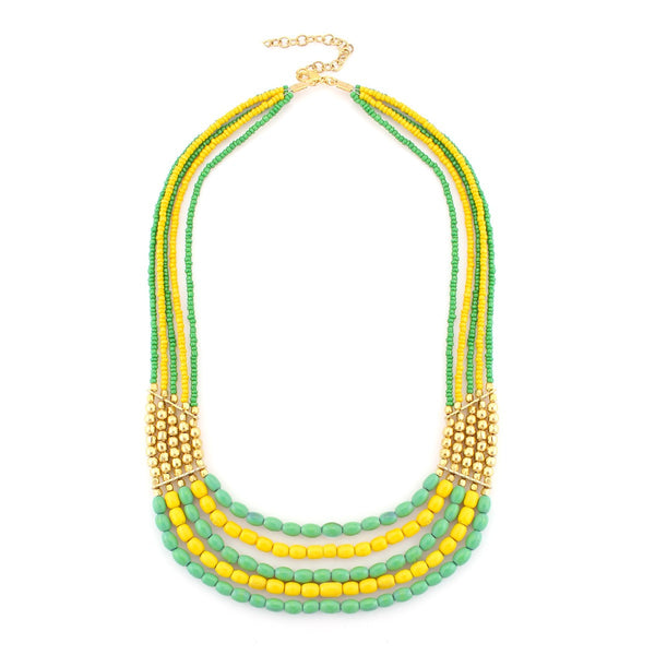 Fashion Gold-Tone Green Yellow & Gold Bead Necklace Women's Girl'S Gift For Her