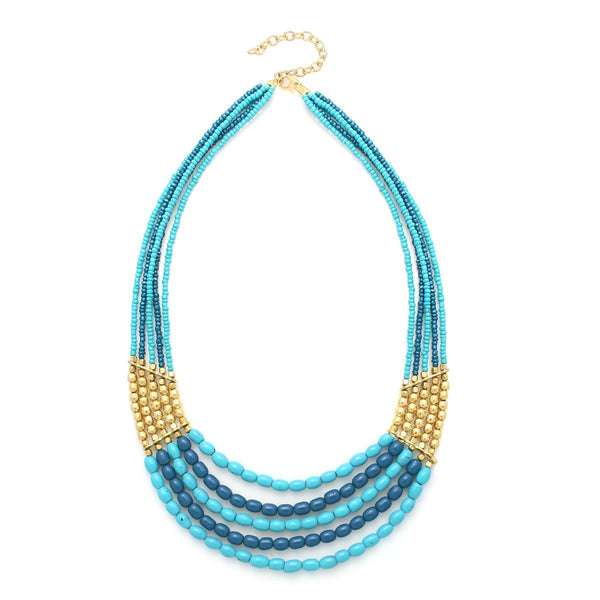 Fashion Gold-Tone Blue & Gold Bead Necklace Women's Girl'S Gift For Her
