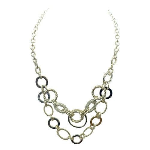 Fashion Gold Circular Chain Necklace With Silver Rhinestones Women's Girl'S Gift For Her