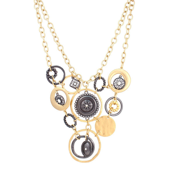 Fashion Gold-Hematite & Crystals Semi Matte Necklace Women's Girl'S Gift For Her