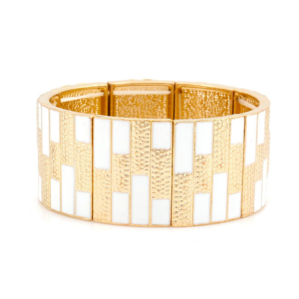Gold White Enamel Stretch Bracelets Gift For Her