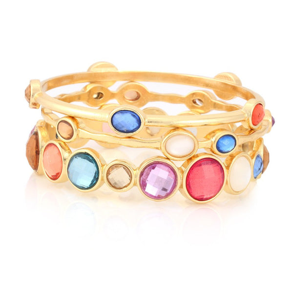 Gold Multi Color Crystal Bangle Bracelet Gift For Her