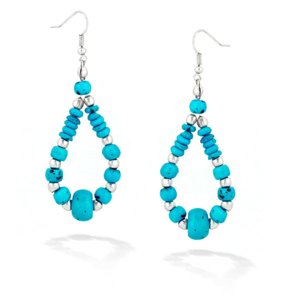 Turquoise & Silver Beads Earrings Gift For Her