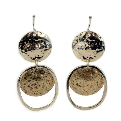 Double Circular Gold Hammered Earrings Gift For Her