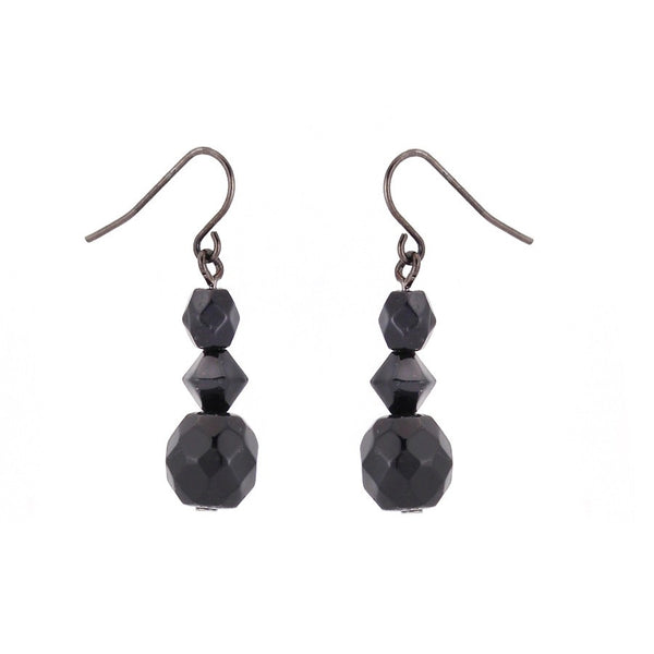 Rhodium-Tone Metal Black Beads Earrings Gift For Her