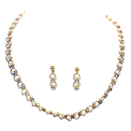 Women's Fashion Gold Chain W/ Pearls Necklace & Earrings Set Gift For Her