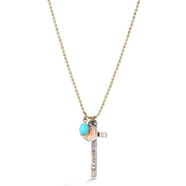 Gold Oxide Turquoise Cross Charm Necklaces Gift For Her