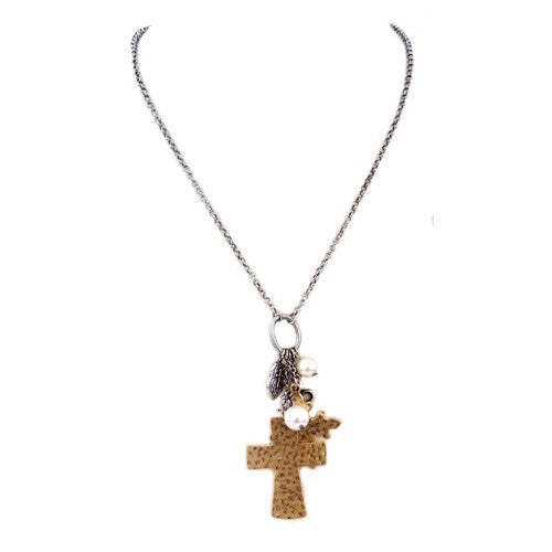 Fashion Gold Hammered Cross Necklace With Charms Women's Girl'S Gift For Her