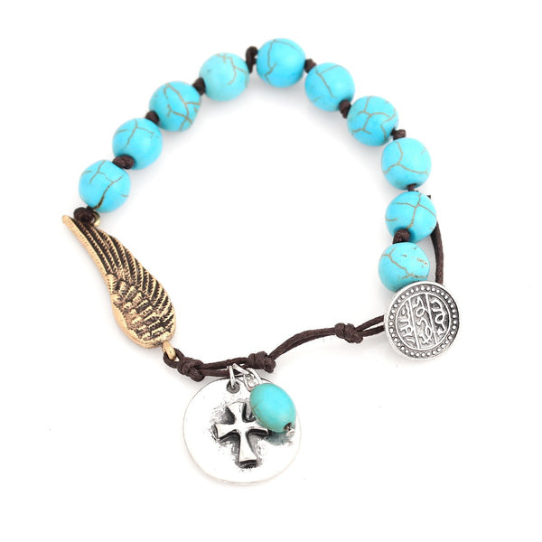 Silver Turquoise Charm Bracelets Gift For Her