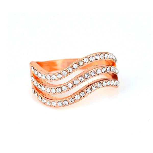 Tazza-Rose Gold-Tone Metal Rhinesstones Size 8 Rings