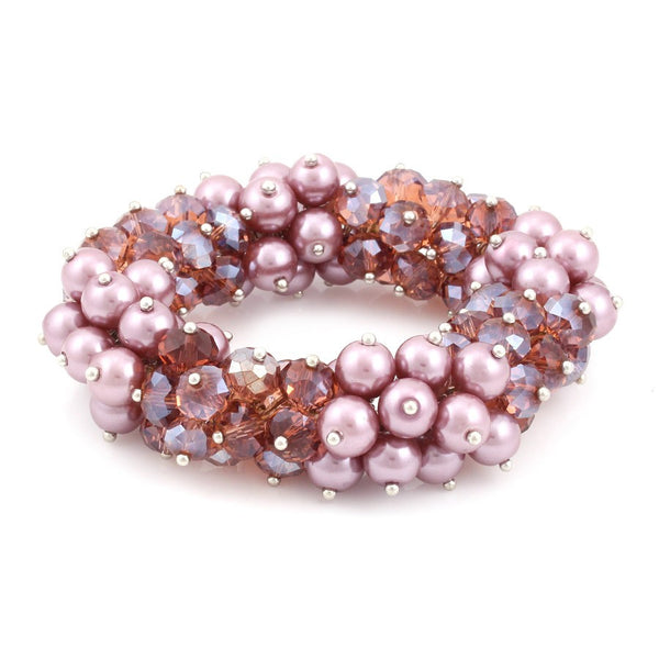 Amethyst Pearl Stretch Bracelets Gift For Her