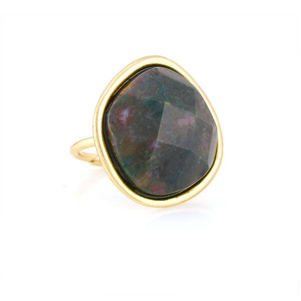 Gold-Tone Metal Green Faceted Stone Adjustable Rings