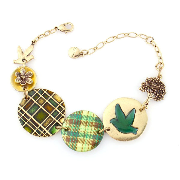 All That Plaid' - Adjustable Panel Bracelet Gift For Her
