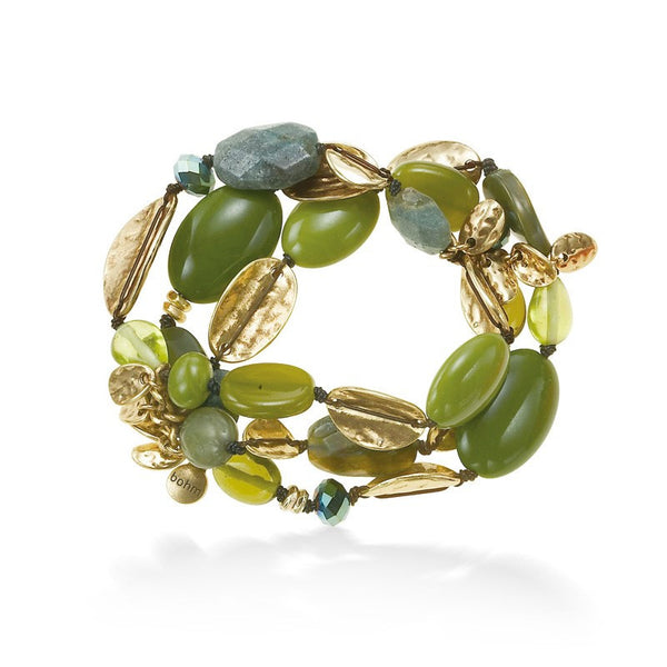 Women's Fashion Gold-Tone Metal 3 Layered Green Stone Stretch Bracelets Gift For Her