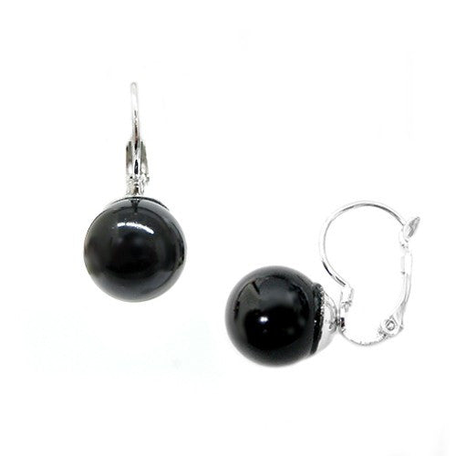 12Mm Black Glass Pearl Silver Huggie Earrings