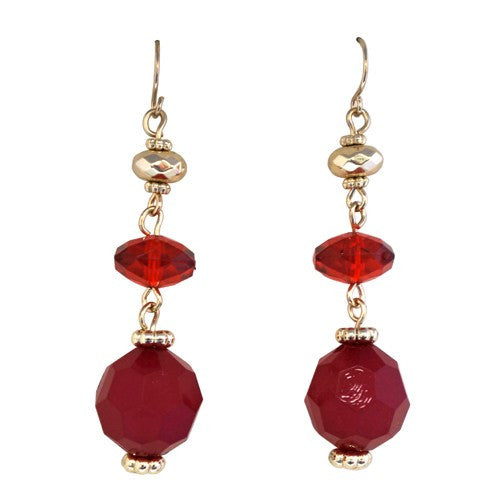 Women's Fashion Red & Gold Double Rounded Drop Earrings Gift For Her