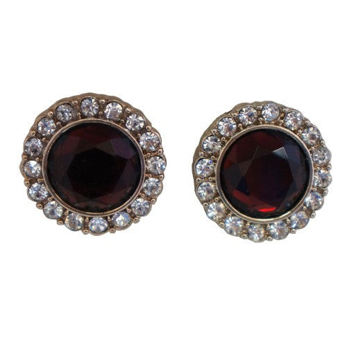Women's Fashion Ruby Red Round Earrings W/ Rhinestone Border Gift For Her