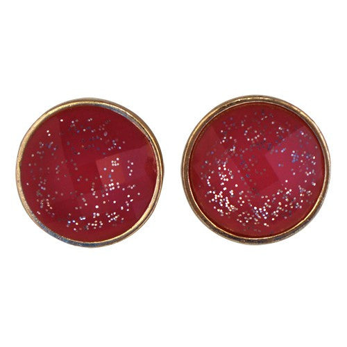 Women's Fashion Red Rounded Earrings W/ Silver Sparkles Gift For Her