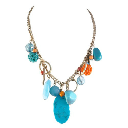 Fashion Turquoise & Gold Charm Necklace Women's Girl'S Gift For Her