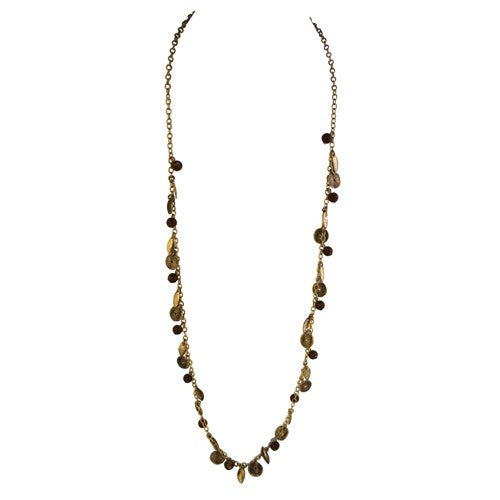 Fashion Gold & Brown Beaded Long Chain Necklace Women's Girl'S Gift For Her