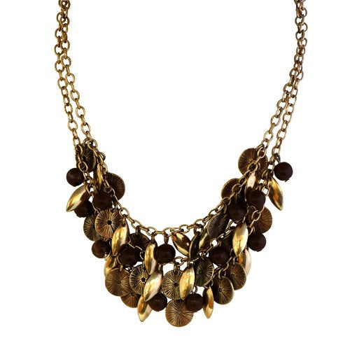 Fashion Brown Beaded & Metal Two Rows Short Necklace Women's Girl'S Gift For Her