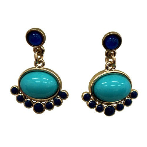 Women's Fashion Oval Shaped Turquoise Earrings W/ Blue Outline Gift For Her