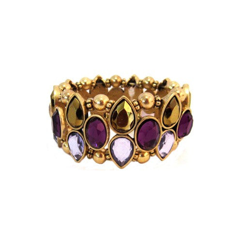 Women's Fashion Gold Stretch Bracelet W/ Purple Ovals & Gold Teardrop Stones Gift For Her
