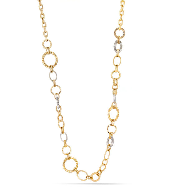 Fashion Gold & Silver Chain Circular Necklace With Silver Rhinestones Women's Girl'S Gift For Her