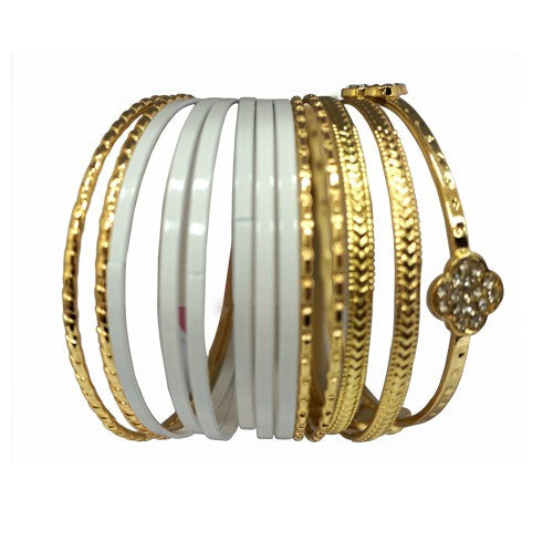 Women's Fashion Gold & White Bangle Set W/ One Gold Clover Bangle, Set Of 13 Pcs Gift For Her