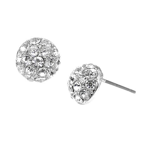 11Mm Silver Starry Fireball Stud Earrings