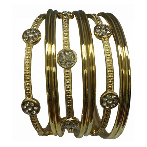 9-Piece Gold Bangle Set With 3 Crystal Stones Bangles