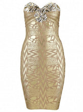 """VERONICA"" Jeweled Gold Bodycon Dress"